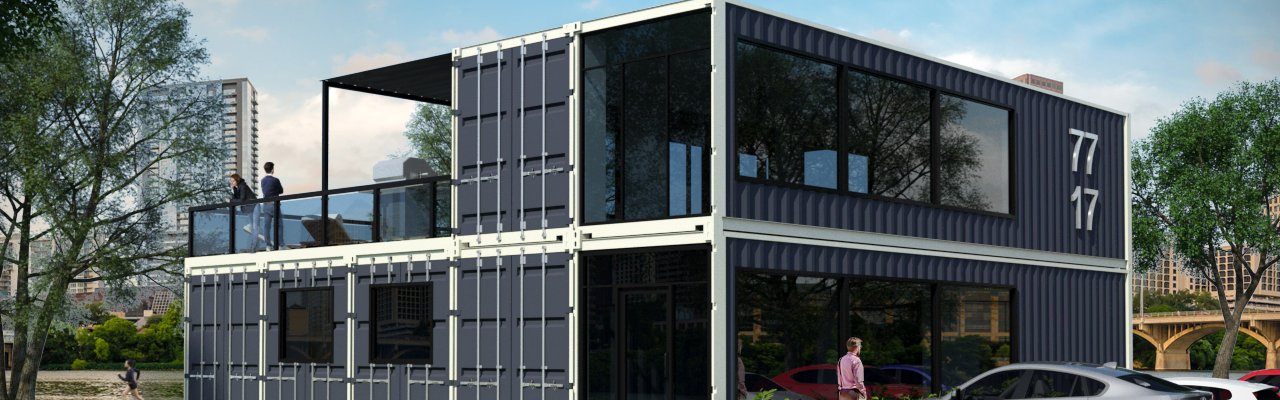 Rendering of multi-container apartment