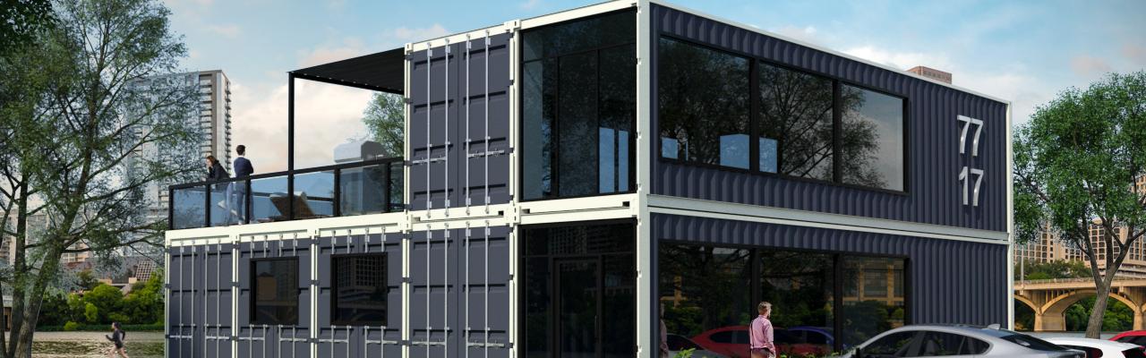 Rendering of multi-container apartment