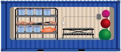 Illustration of athletic equipment storage container.