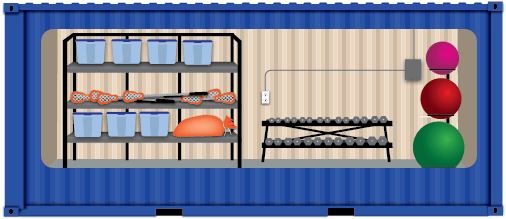 Illustration of athletic equipment storage container.