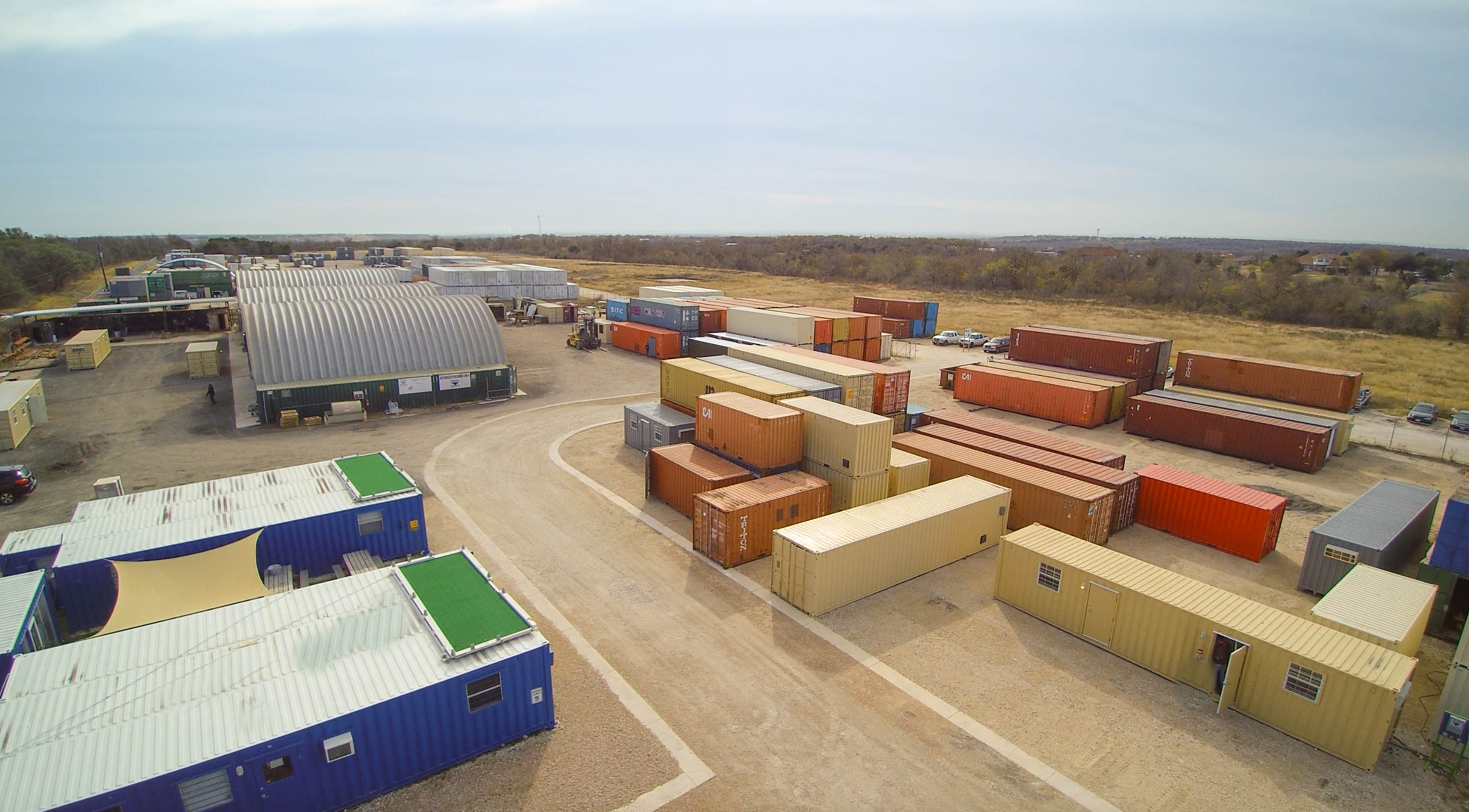 Aerial shot of Falcon Structures' facility.
