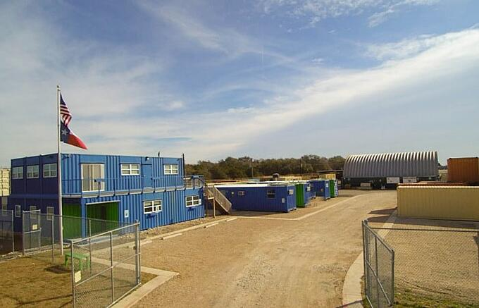 The Falcon Structures office is headquartered in a container-based structure.