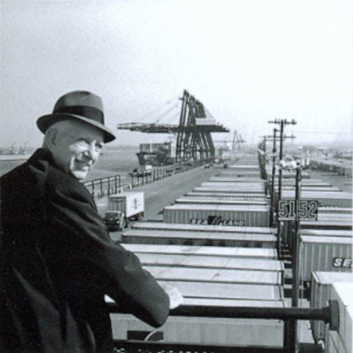 Malcom Mclean changed history by pushing shipping containers into the commercial space.