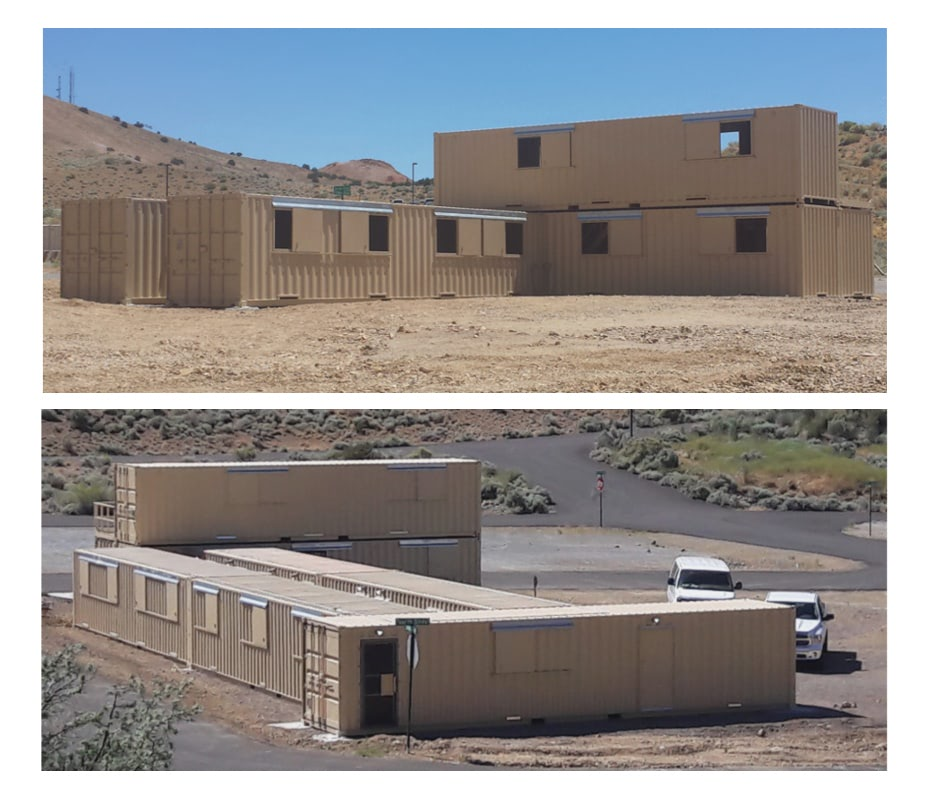 Shipping container modules were installed in two phases to create the emergency response training facility.