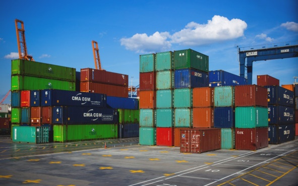 Shipping containers in a port.