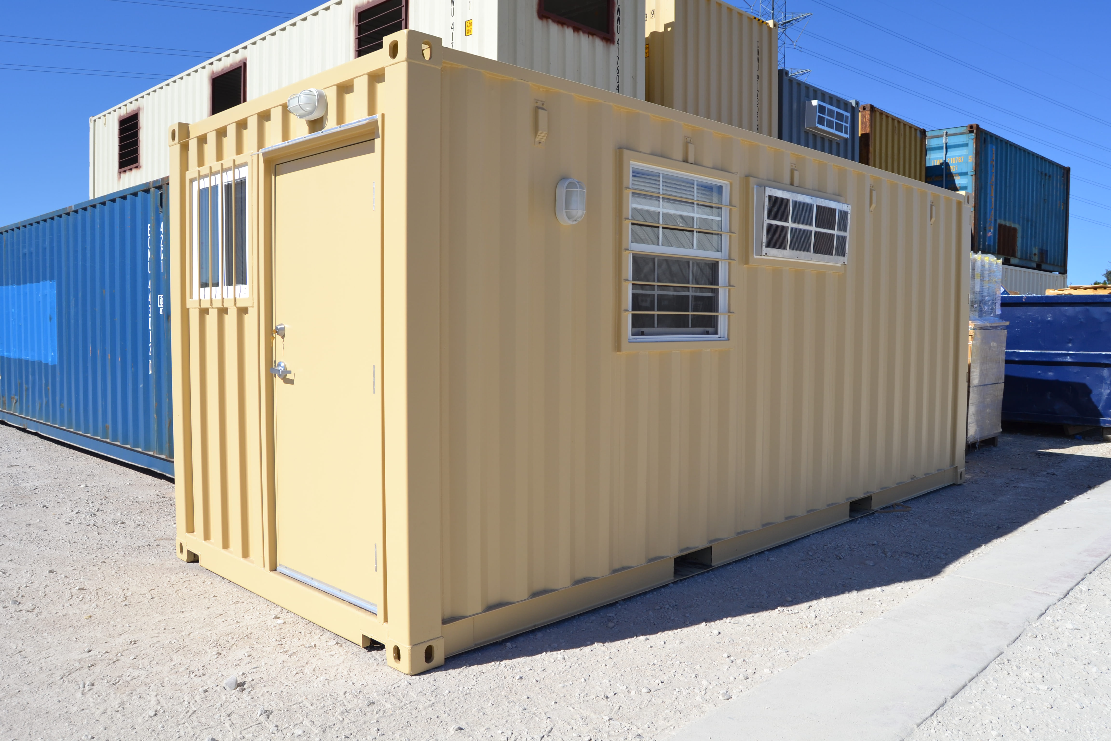 Shipping containers are a safe and professional option for real estate sales offices available in 20 foot and 40 foot configurations our ground level