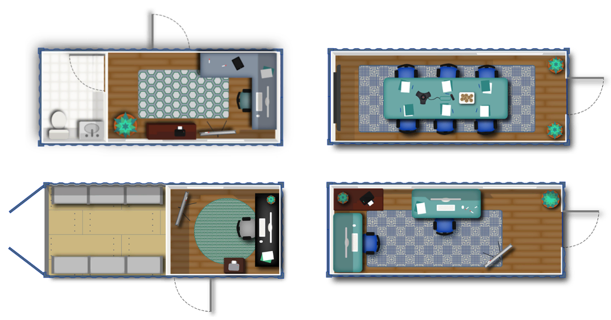 Floorplan inspiration for 20-foot conex containers.