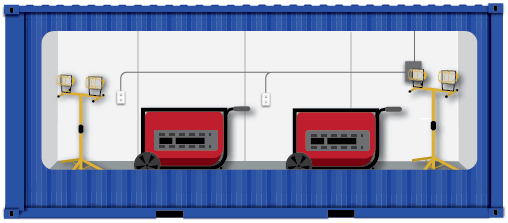 Illustration of ISO container used to store machinery.