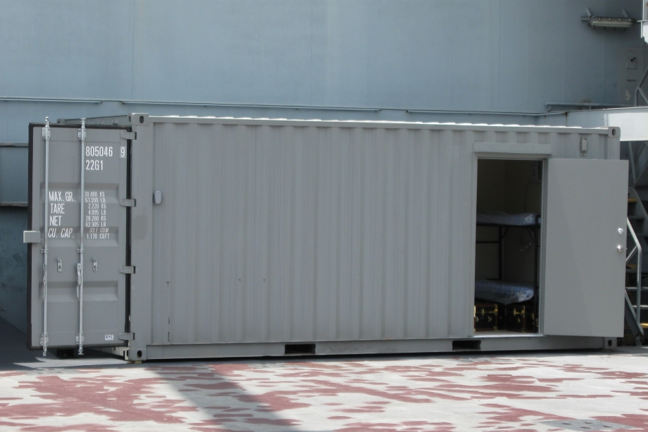 Modified Container Living Quarters Support Security Team on Cargo Ship